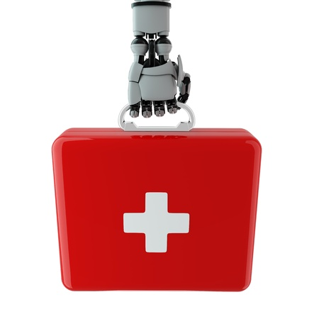 Isolated robotic arm with first aid kit Stock Photo - 17697167