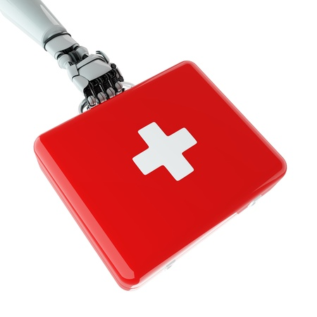 Isolated robotic arm with first aid kit Stock Photo - 17697172