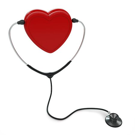 Isolated stethoscope and heart on white background Stock Photo