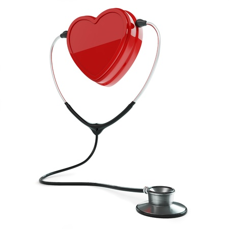 Isolated stethoscope and heart on white background Stock Photo - 17697173