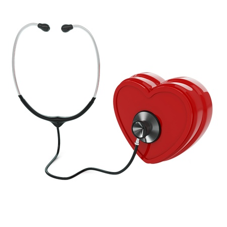 ailment: Isolated stethoscope examing heart on white background