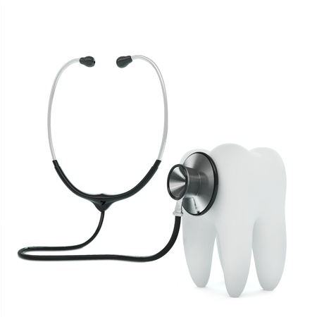 dental caries: Isolated stethoscope examing tooth on white background