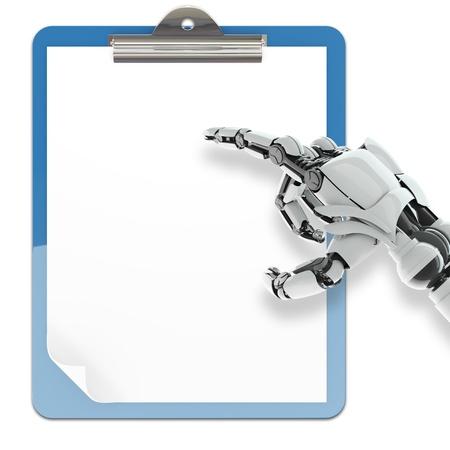 mano robotica: Brazo robótico aislada que señala en soporte papel almohadilla en el fondo blanco Foto de archivo