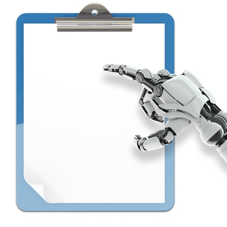 Isolated robotic arm pointing on paper pad holder on white background photo