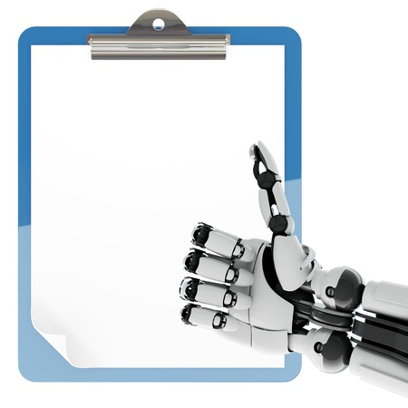 Isolated robotic arm showing thumbs up and paper pad holder on white background Stock Photo