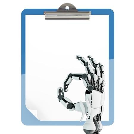 mano robotica: Brazo robótico aislada que muestra signo de OK y soporte de la almohadilla de papel en el fondo blanco Foto de archivo