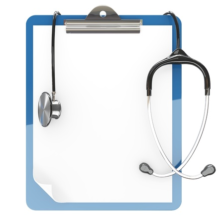 Isolated paper pad holder and stethoscope on white background