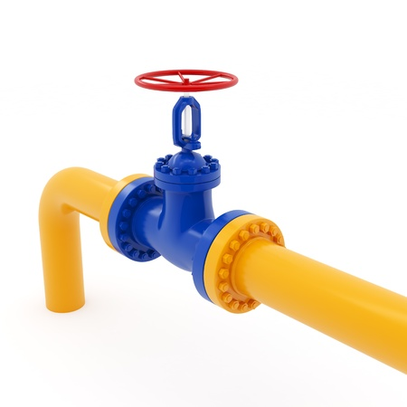 Isolated yellow pipeline with red valve on white background Stock Photo - 17906299