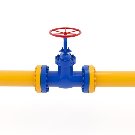 Isolated yellow pipeline with red valve on white background Stock Photo - 17906298