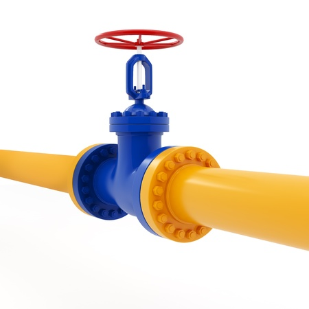conduit: Isolated yellow pipeline with red valve on white background