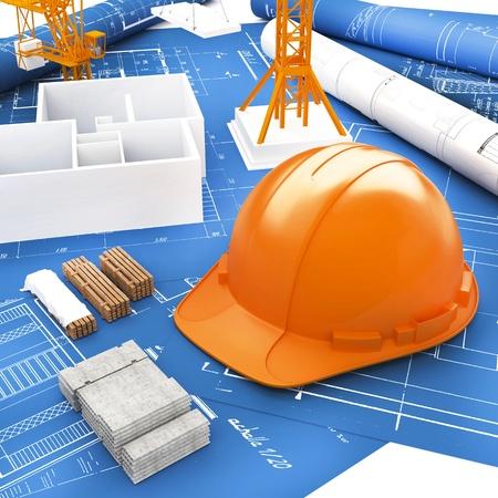 Orange Helmet for Builder and Blueprint Stock Photo - 17906303