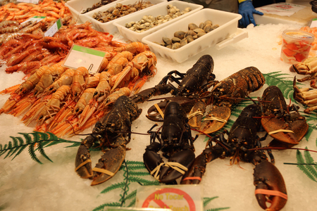 fresh  lobster at the market, seafood Boqueria Market in Barcelona photo