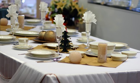 Festive New Year\'s table serving.  Christmas table.