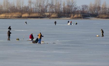 ice fishing: ice fishing in Ukraine.