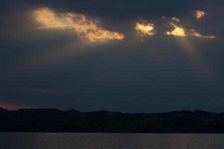 dnepr: Beautiful sunset beams over the river Dnepr in Ukraine