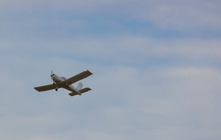 pilot light: little plane in the air. Small aircraft Stock Photo