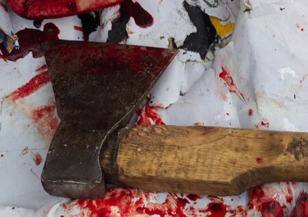gore: A close-up of bloody axe and small pool of blood Stock Photo