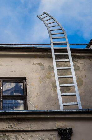 secret place: Ladder going up in to the sky.  Secret place Stock Photo