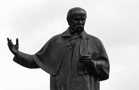 national poet: Taras Shevchenko Monument in Lviv. Clouse up