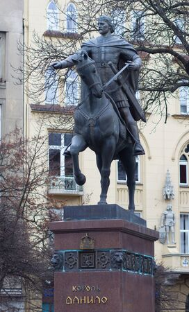 monument historical monument: King Danylo Galytsjkyj monument in Lviv, Ukraine. Lviv is a city in western Ukraine - Capital of historical region of Galicia.