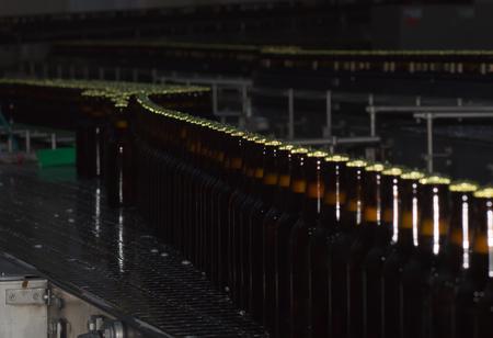 conveyors: Beer bottles on the conveyor belt. Brewery
