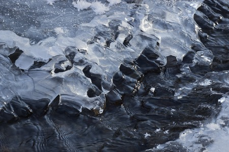 scour: Crack in the ice on a frozen river. scour water Stock Photo