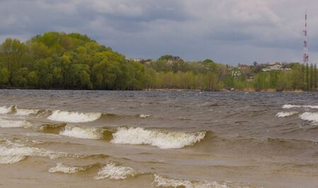 windy day: Wave of Dnepr  River on a windy day.