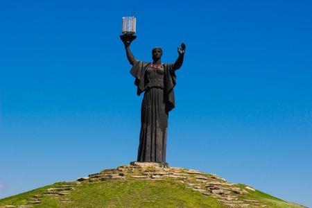 volgograd: The monument of Motherland Calls in glory hill, memorial complex in Cherkasy, Ukraine. Stock Photo