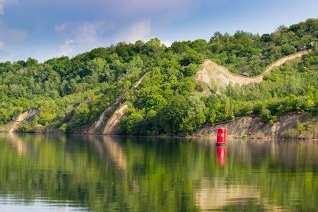 dniepr: A navigational  signal buoy in river Dniepr, Ukraine Stock Photo