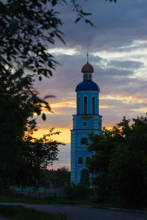church bell: church. Bell tower in the sunset sky Stock Photo