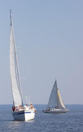 dniepr: PEREYASLAV, UKRAINE- AUGUST 6, 2016: Boat in sailing regatta. Cup of Pereyaslav 2016