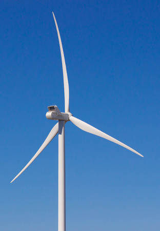 electric generating plant: Windmill for electric power production on blue sky