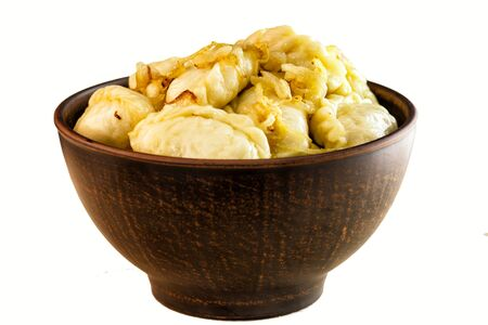 ukrainian: Ukrainian cuisine vareniks. White background