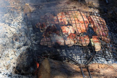 flavorful meat on the grill with smoke in forest