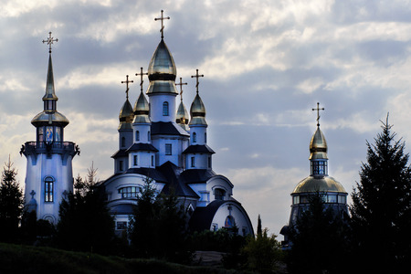 The temple complex in a landscape park in the village Buki. Built by businessman Ivan Suslov. In the center is the Christian church of St. Eugene