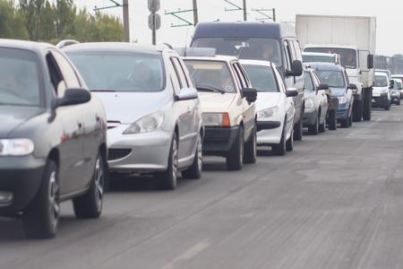 traffic jams in the city, road, rush hour Фото со стока