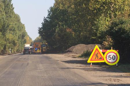 road repair warning.