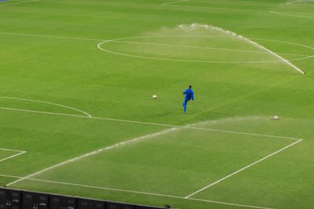 Спринклерная система работает на свежей зеленой траве на футбольном (футбольном) стадионе Фото со стока