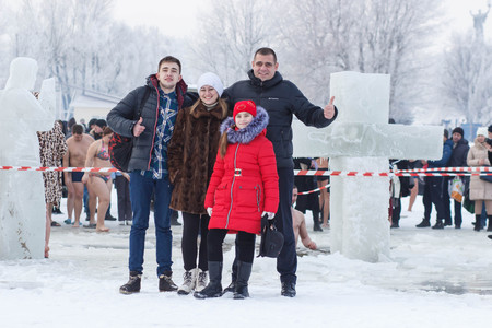 CHERKASSY, UKRAINE - January 19, 2017: Traditional ice swimming in Orthodox church Holy Epiphany Day. Editorial