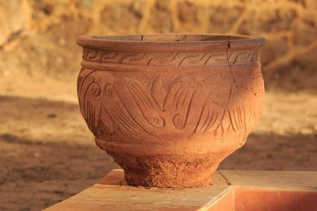 Antique decorative clay vases. Old art Фото со стока