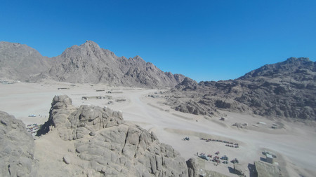 Mount Moses , is a mountain in the Sinai Peninsula, which is most often identified with the biblical Mount Sinai. Фото со стока - 99245977