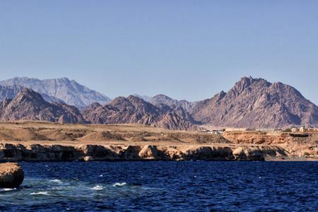 Coastline landscape of Red Sea in Sinai mountians.