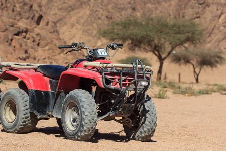 quad rally. ATV in desart