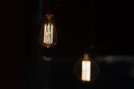 Luxury beautiful retro edison light lamp decor. Фото со стока