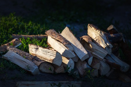 A pile of stacked firewood, prepared for heating the house. Gathering fire wood for winter or bonfire