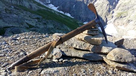 Old climbing ice ax