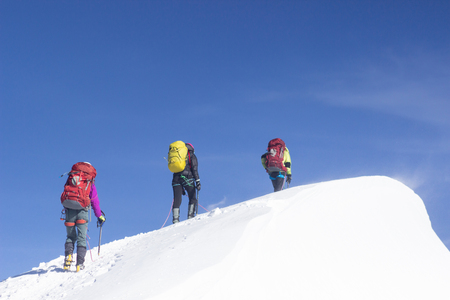 A group of mountaineers climbs to the top of a snow-capped mountain. Imagens