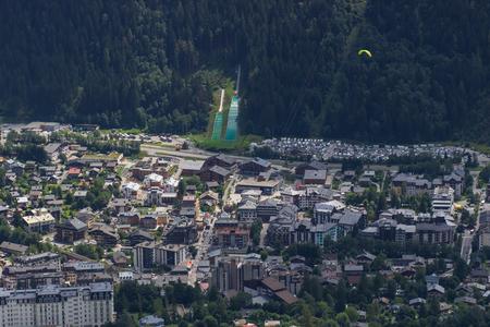 top view of Chamonix-Mont-Blanc city center.