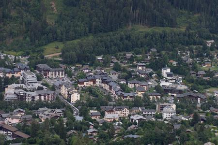Chamonix Village top view, France.