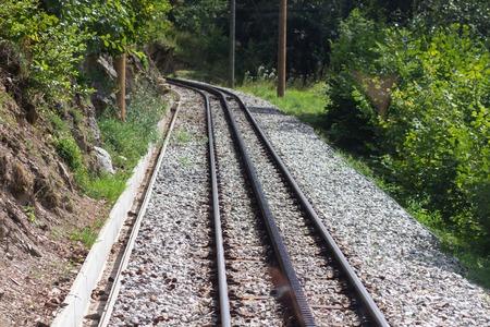 Mountain railway with additional rail for cogwheel, Mont Blanc Фото со стока